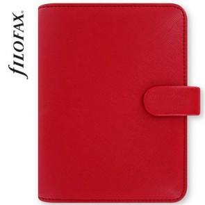 """Kalendárium, gyűrűs, betétlapokkal, pocket méret, FILOFAX, """"Saffiano"""", piros"""