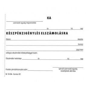 """Nyomtatvány, Készpénzigénylés elszámolásra, 50x2, A6, VICTORIA, """"B.13-134"""", 10 tömb/csomag"""