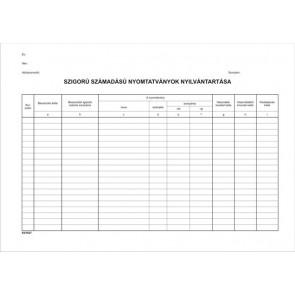 Nyomtatvány, szigorú számadású nyomtatványok nyilvántartása, 25 lap, A4, VICTORIA, 10 tömb/csomag