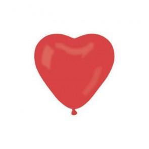 Léggömb, 25 cm, szív alakú, piros