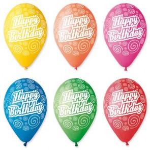 """Léggömb, 30 cm, """"Happy Birthday"""", körkörös"""
