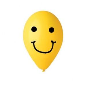 Léggömb, 30 cm, smiley, sárga