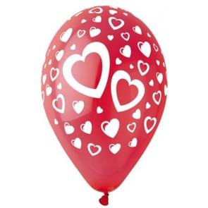 Léggömb, 30 cm, piros szívek