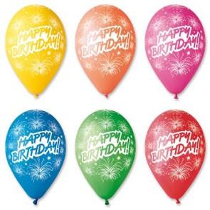Léggömb, 30 cm, Boldog Születésnapot, tüzijáték