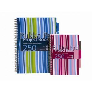 """Spirálfüzet, A4, vonalas, 125 lap, PUKKA PAD """"Stripe project book"""""""