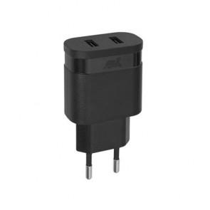 """Hálózati töltő, 2 x USB, 2,4A, RIVACASE """"VA 4122 B00"""", fekete"""