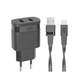 """Hálózati töltő, 2 x USB, 3,4A, USB-C kábellel, RIVACASE """"PS4123"""", fekete"""