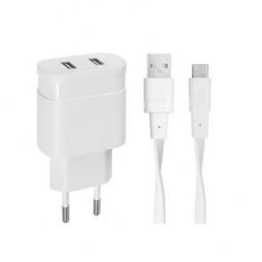 """Hálózati töltő, 2 x USB, 3,4A, USB-C kábellel, RIVACASE """"PS4123"""", fehér"""