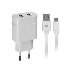 """Hálózati töltő, 2 x USB, 3,4A, micro USB kábellel, RIVACASE """"VA 4123 WD1"""", fehér"""