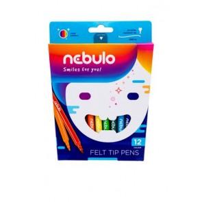 Filctoll készlet, 1 mm, NEBULO, 12 különböző szín