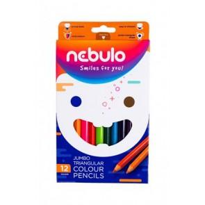 Színes ceruza készlet, háromszögletű,  jumbo, NEBULÓ, 12 különböző szín