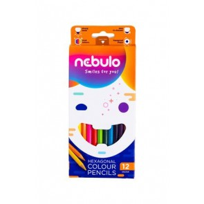 Színes ceruza készlet, hatszögletű,  NEBULO, 12 különböző szín