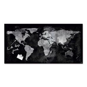 """Mágneses üvegtábla, Világtérképpel, 46x91 cm, SIGEL """"Artverum® """", fekete"""