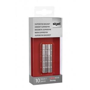 """Extra erős, henger alakú mágnes,10 db SIGEL """"SuperDym"""", ezüst"""