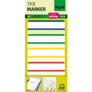 Jelölőcímke, megerősített, fehér szélű, 50x38 mm, 4x5 db, SIGEL, vegyes színek
