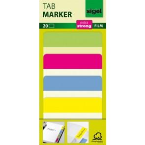 Jelölőcímke, megerősített, színes szélű, 50x38 mm, 4x5 db, SIGEL, vegyes színek