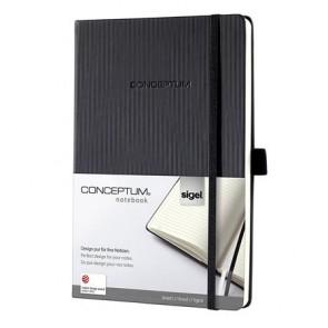 """Jegyzetfüzet, exkluzív, A5, vonalas, 97 lap, keményfedeles, SIGEL """"Conceptum"""", fekete"""