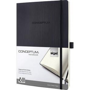 """Jegyzetfüzet, exkluzív, A4+, vonalas, 194 oldal, keményfedeles, SIGEL """"Conceptum"""", fekete"""