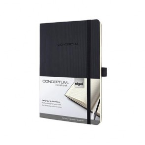 """Jegyzetfüzet, exkluzív, A5, kockás, 194 oldal, puhafedeles, SIGEL """"Conceptum"""", fekete"""