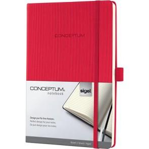 """Jegyzetfüzet, exkluzív, A5, vonalas, 194 oldal, keményfedeles, SIGEL """"Conceptum"""", piros"""