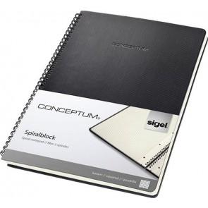 """Spirálfüzet, exkluzív, A4, kockás, 80 lap, keményfedeles, SIGEL """"Conceptum"""", fekete"""