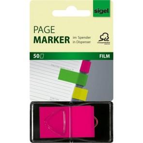 "Jelölőcímke, műanyag, ""Z"", 50 lap, 25x45 mm, SIGEL, rózsaszín"