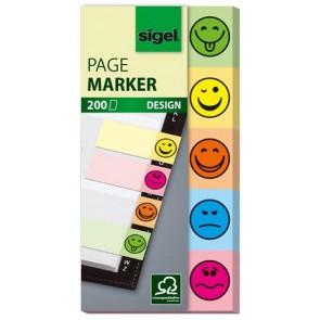 """Jelölőcímke, papír, 5x40 lap, 20x50 mm, SIGEL """"Smile"""", vegyes szín"""