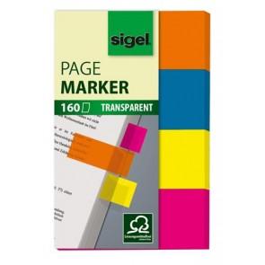 """Jelölőcímke, műanyag, 4x40 lap, 20x50 mm, SIGEL """"614"""", vegyes szín"""