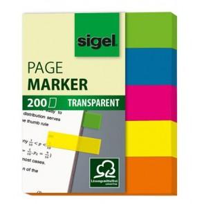 """Jelölőcímke, műanyag, 5x40 lap, 12x50 mm, SIGEL """"615"""", vegyes szín"""