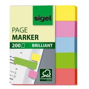"Jelölőcímke, papír, 5x40 lap, 12x50 mm, SIGEL ""Brilliant Mini"", vegyes szín"