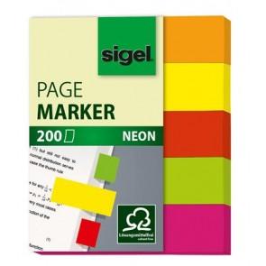 "Jelölőcímke, papír, 5x40 lap, 12x50 mm, SIGEL ""Neon Mini"", vegyes szín"