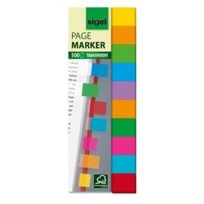 Jelölőcímke, műanyag, 10x50 lap, 44x12,5 mm, SIGEL, vegyes színek
