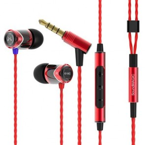 """Fülhallgató, mikrofon, hangerőszabályzó, fém, SOUNDMAGIC """"E10C"""", fekete-piros"""