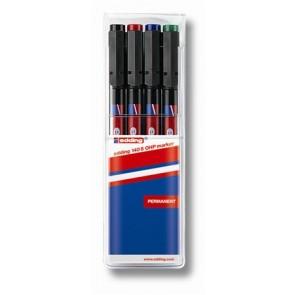 """Alkoholos marker készlet, OHP, 0,3 mm, EDDING """"140 S"""", 4 különböző szín"""