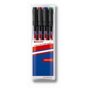 """Alkoholos marker készlet, OHP, 0,6 mm, EDDING """"141 F"""", 4 különböző szín"""