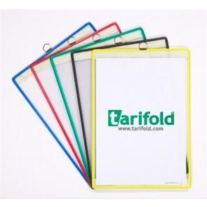 Bemutatótábla, acélkeretes, függő, A4, álló, fém fülecskével, TARIFOLD, zöld