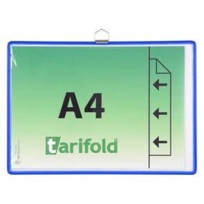 Bemutatótábla, függő, A4,  fekvő, fém fülecskével, TARIFOLD, kék