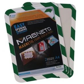 """Mágneses tasak, mágneses háttal, A4, TARIFOLD """"Magneto Safety"""", zöld-fehér"""