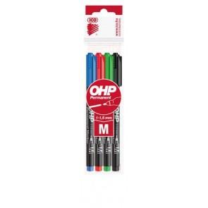 Alkoholos marker készlet, OHP, 1-1,5 mm, M, ICO, 4 különböző szín