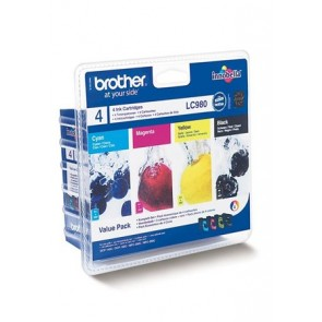 LC980BCMY Tintapatron multipack DCP 145C, BROTHER b+c+m+y, 1*300 oldal, 3*260 oldal