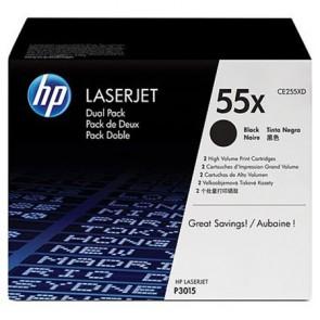 CE255XD Lézertoner LaserJet P3015 nyomtatóhoz, HP 55X, fekete, 2*12,5k