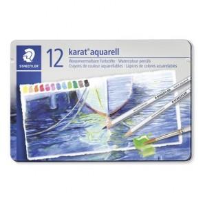 """Akvarell ceruza készlet, fém doboz, STAEDTLER """"Karat"""", 12 különböző szín"""