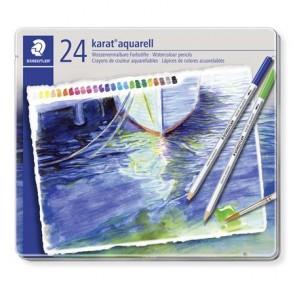 """Akvarell ceruza készlet, fém doboz, STAEDTLER """"Karat"""", 24 különböző szín"""