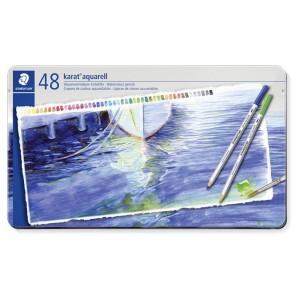 """Akvarell ceruza készlet, fém doboz, STAEDTLER """"Karat"""", 48 különböző szín"""