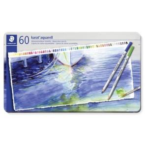 """Akvarell ceruza készlet, fém doboz, STAEDTLER """"Karat"""", 60 különböző szín"""