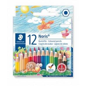"""Színes ceruza készlet, hatszögletű, félhosszú, STAEDTLER """"Noris Club"""", 12 különböző szín"""