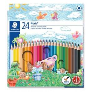 """Színes ceruza készlet, hatszögletű, STAEDTLER """"Noris Club"""", 24 különböző szín"""
