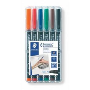 """Alkoholos marker készlet, OHP, 0,6 mm, STAEDTLER """"Lumocolor 318 F"""", 6 különböző szín"""