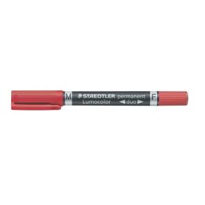 "Alkoholos marker, F/M, 0,6/1,5 mm, kúpos, kétvégű, STAEDTLER ""Lumocolor Duo"", piros"