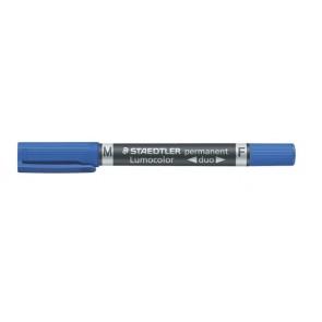 "Alkoholos marker, F/M, 0,6/1,5 mm, kúpos, kétvégű, STAEDTLER ""Lumocolor Duo"", kék"